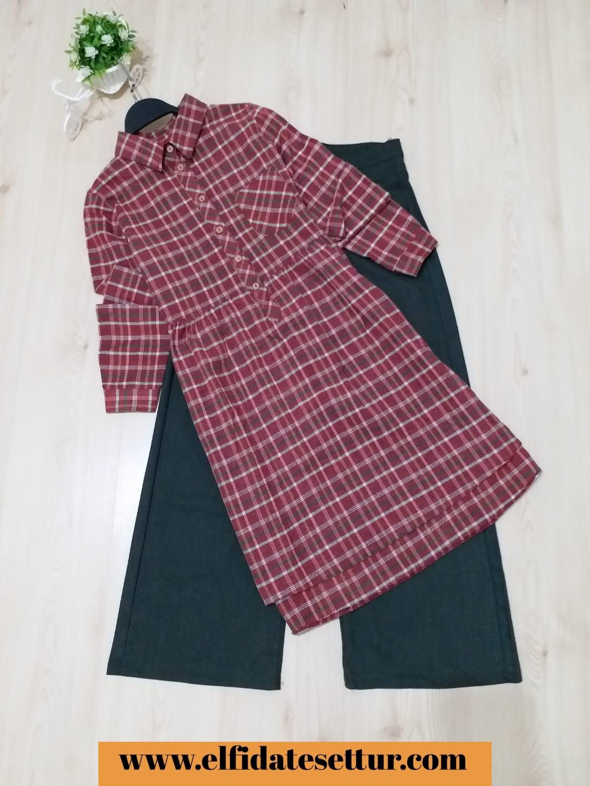 c2943d4e3d22d Ekose tunik koton pantolon kombin - Kadın Giyim tesettür tunik etek kazak  hırka mont Kombin Kapıda Ödeme