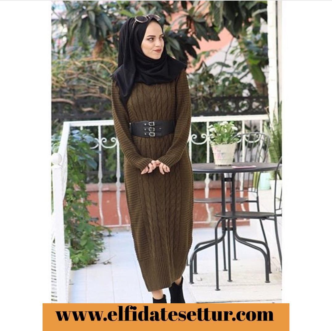 b5daa16c7ecfd Pudra Siyah Krem Haki Örme Triko Elbise - Kadın Giyim tesettür tunik ...