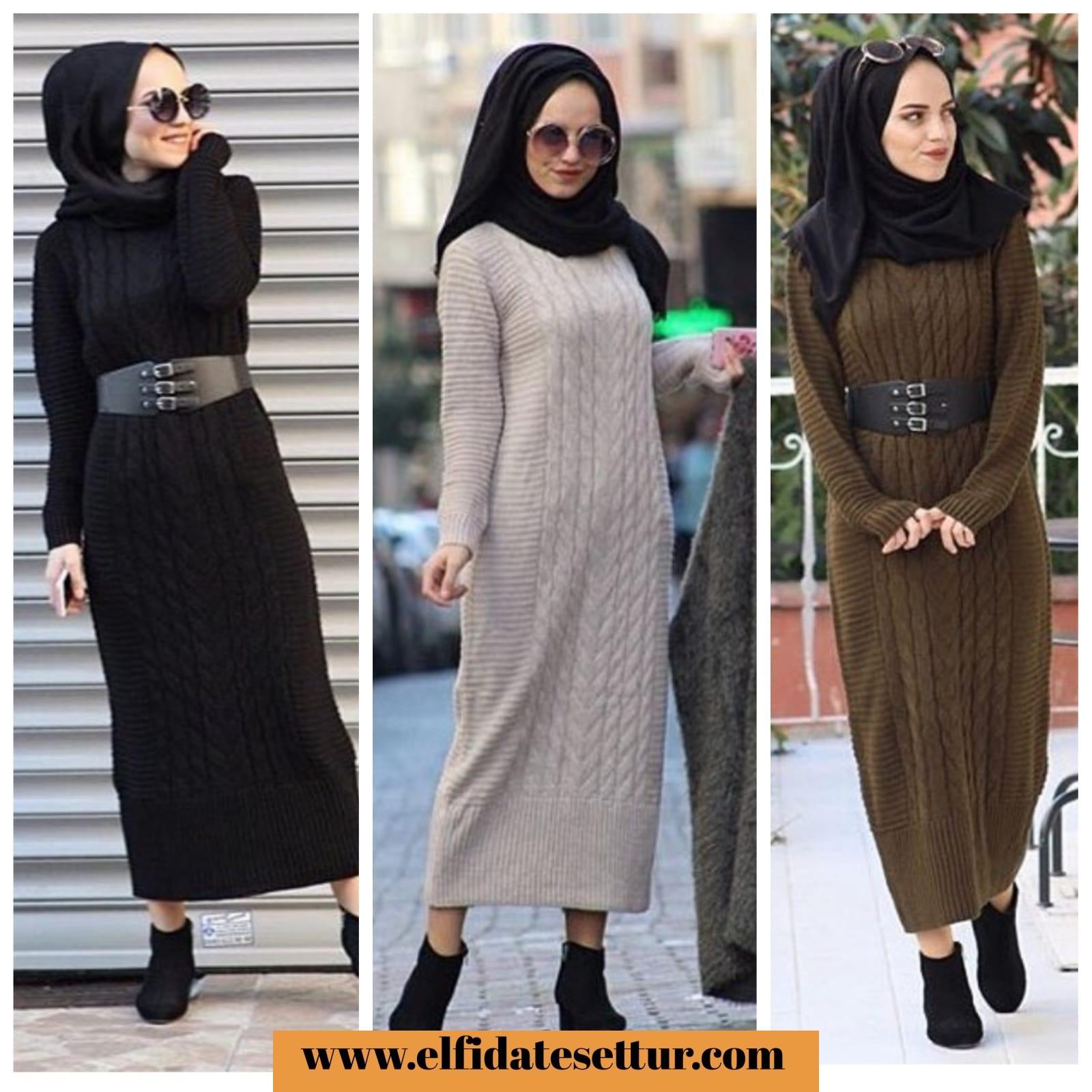 2c7d736226de8 Pudra Siyah Krem Haki Örme Triko Elbise - Kadın Giyim tesettür tunik etek  kazak hırka mont Kombin Kapıda Ödeme