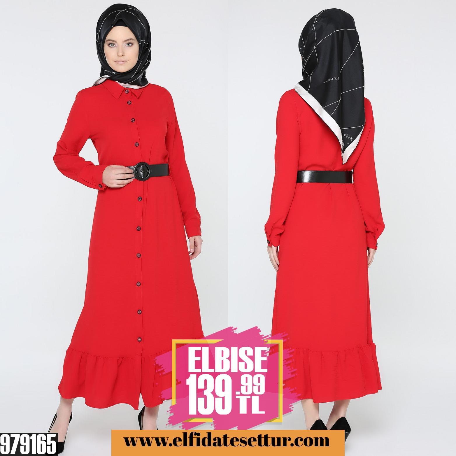 7d0109c5cafc1 Düğmeli kemerli koton elbise - Kadın Giyim tesettür tunik etek kazak hırka  mont Kombin Kapıda Ödeme
